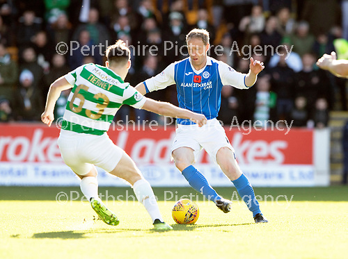 St Johnstone v Celtic…04.11.17…  McDiarmid Park…  SPFL<br />Steven Anderson is closed down by Kieran Tierney<br />Picture by Graeme Hart. <br />Copyright Perthshire Picture Agency<br />Tel: 01738 623350  Mobile: 07990 594431