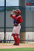GCL Phillies West catcher Kevin Escalante (22) during a Gulf Coast League game against the GCL Yankees East on August 3, 2019 at the Carpenter Complex in Clearwater, Florida.  The GCL Yankees East defeated the GCL Phillies West 4-0, the second game of a doubleheader.  (Mike Janes/Four Seam Images)