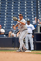 Lakeland Flying Tigers first baseman Reynaldo Rivera (35) during a Florida State League game against the Tampa Tarpons on April 7, 2019 at George M. Steinbrenner Field in Tampa, Florida.  Tampa defeated Lakeland 3-2.  (Mike Janes/Four Seam Images)