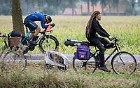 slow versus fast: Filippo Baroncini (ITA/Colpack Ballan) speeding by<br /> <br /> World Championships U23 Men - ITT <br /> Time Trial from Knokke-Heist to Bruges (30.3km)<br /> <br /> UCI Road World Championships - Flanders Belgium 2021<br /> <br /> ©kramon