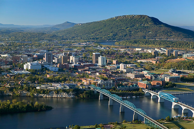 Chattanooga along Tennessee River with Lookout Mtn in background