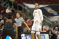 SEATTLE, WA - March 2, 2017: Cal Bears Women's Basketball team vs. the USC Trojans in the Pac-12 Women's Basketball Tournament at Key Arena. Final Score: Cal Bears 71, USC Trojans 58