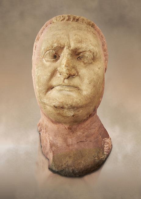 Roman sculpture of the Emperor Vitellius, excavated  from Althiburos sculpted circa 20 April 69-20 Dec 69AD. The Bardo National Museum, Tunis, Inv No: C.1784