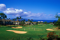 Golfers at Wailea Blue Course, Maui, Hawaii. Architect: Arthur Jack Snyder