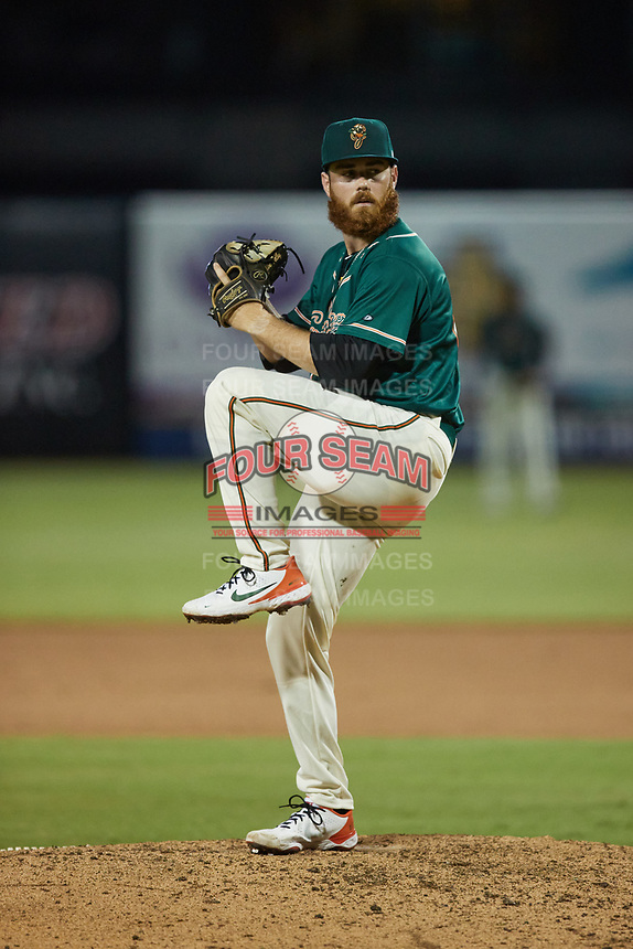 Greensboro Grasshoppers relief pitcher Colin Selby (48) in action against the Winston-Salem Dash at First National Bank Field on June 3, 2021 in Greensboro, North Carolina. (Brian Westerholt/Four Seam Images)