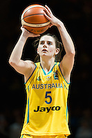 Melbourne, 15 August 2015 - Tessa LAVEY of Australia takes a free throw in game one of the 2015 FIBA Oceania Championships in women's basketball between the Australian Opals and the New Zealand Tall Ferns at Rod Laver Arena in Melbourne, Australia. Aus def NZ 61-41. (Photo Sydney Low / sydlow.com)