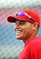 29 May 2011: Washington Nationals catcher Ivan Rodriguez awaits his turn in the batting cage prior to a game against the San Diego Padres at Nationals Park in Washington, District of Columbia. The Padres defeated the Nationals 5-4 to take the rubber match of their 3-game series. Mandatory Credit: Ed Wolfstein Photo