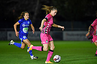 Estelle Dessilly (13 Charleroi) pictured running past Jasmien Mathys (12 Gent) during a female soccer game between  AA Gent Ladies and Sporting Charleroi Feminin on the fifth matchday of the 2020 - 2021 season of Belgian Scooore Womens Super League , friday 16 th of October 2020  in Oostakker , Belgium . PHOTO SPORTPIX.BE   SPP   DAVID CATRY