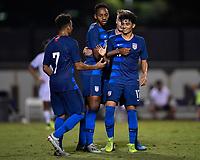 Miami, FL - Tuesday, October 15, 2019:  Richard Ledezma #17, Goal Celebration, Mason Toye #18 during a friendly match between the USMNT U-23 and El Salvador at FIU Soccer Stadium.