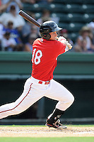 Designated hitter Kevin Mager (24) of the Greenville Drive bats in a game against the Augusta GreenJackets on Sunday, July 13, 2014, at Fluor Field at the West End in Greenville, South Carolina. Greenville won, 8-5. (Tom Priddy/Four Seam Images)