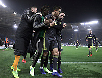 Football, Serie A: S.S. Lazio - Juventus, Olympic stadium, Rome, January 27, 2019. <br /> Juventus' Joao Cancelo (second from right) celebrates after scoring with his teammates during the Italian Serie A football match between S.S. Lazio and Juventus at Rome's Olympic stadium, Rome on January 27, 2019.<br /> UPDATE IMAGES PRESS/Isabella Bonotto