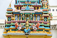 George Town, Penang, Malaysia.  Hindu Deities on Entrance Tower (Gopuram) of Sri Maha Mariamman Hindu Temple.