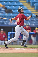 Savannah Sand Gnats right fielder Wuilmer Beccerra (31) swings at a pitch during a game against the Asheville Tourists on June 2, 2015 in Asheville, North Carolina. The Sand Gnats defeated the Tourists 4-1. (Tony Farlow/Four Seam Images)