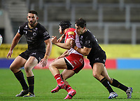 20th November 2020; Totally Wicked Stadium, Saint Helens, Merseyside, England; BetFred Super League Playoff Rugby, Saint Helens Saints v Catalan Dragons;  Benjamin Garcia of Catalan Dragons earns a yellow card for his high arm on Johnny Lomax of St Helens