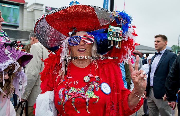 LOUISVILLE, KY - MAY 05: A woman wear a fancy hat on Kentucky Derby Day at Churchill Downs on May 5, 2018 in Louisville, Kentucky. (Photo by Eric Patterson/Eclipse Sportswire/Getty Images)