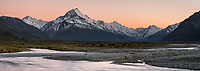 Dawn on Aoraki Mount Cook 3,724m with Tasman River, Aoraki Mt. Cook National Park, UNESCO World Heritage Area, Mackenzie Country, New Zealand, NZ
