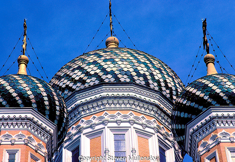 Onion Domes on a Greek church in Nice, France.