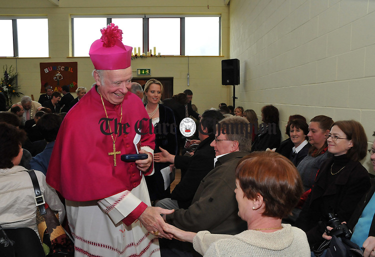 Archbishop Dermot Clifford D.D greets guests at the official opening of the new Ballina National School on Friday. Photograph by Declan Monaghan