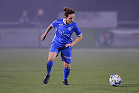 Silke Sneyers (2) of KRC Genk in action  during a female soccer game between  Racing Genk Ladies and Royal Sporting Club Anderlecht , a delayed game from the 1st  matchday of the 2021-2022 season of the Belgian Scooore Womens Super League , tuesday 28 September 2021  in Genk , Belgium . PHOTO SPORTPIX | JILL DELSAUX