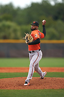 Baltimore Orioles pitcher Xavier Moore (89) during a Minor League Spring Training game against the Tampa Bay Rays on April 23, 2021 at Charlotte Sports Park in Port Charlotte, Florida.  (Mike Janes/Four Seam Images)