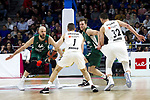 Zalgiris' Antanas Kavaliauskas, Real Madrid's Fabien Caseur, Zalgiris' Nate Wolters and Real Madrid's Ognjen Kuzmic during Euroligue match between Real Madrid and Zalgiris Kaunas at Wizink Center in Madrid, Spain. April 4, 2019.  (ALTERPHOTOS/Alconada)