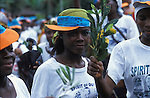 An Ogoni woman at a Mosop rally. Ogoni Land, Nigeria