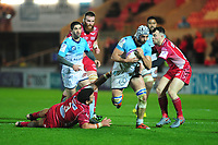 Arnaud Duputs of Bayonne evades the tackle of Javan Sebastian of Scarlets during the European Rugby Challenge Cup Round 4 match between the Scarlets and Bayonne at the Parc Y Scarlets in Llanelli, Wales, UK. Saturday 14 December 2019