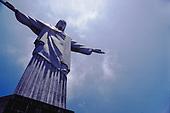 Rio de Janeiro, Brazil. Christ Statue, view of front; Corcovado mountain.