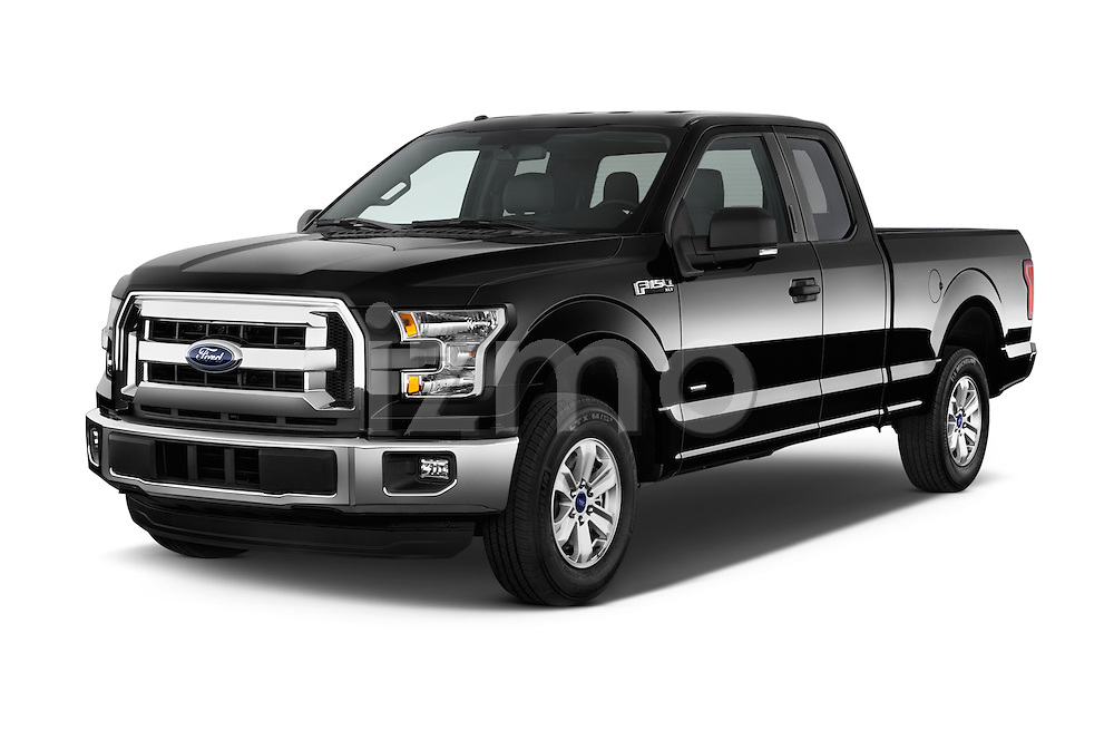 Angular Front Three Quarter View of 2015 Ford F-150 XLT SuperCab 2 Door Truck Stock Photo