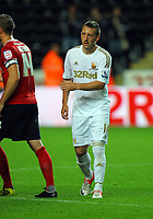 Pictured: Stephen Dobbie of Swansea. Tuesday 28 August 2012<br /> Re: Capital One Cup game, Swansea City FC v Barnsley at the Liberty Stadium, south Wales.