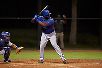 AZL Rangers Tyreque Reed (5) at bat during a rehab assignment in an Arizona League game against the AZL Dodgers Mota at Camelback Ranch on June 18, 2019 in Glendale, Arizona. AZL Dodgers Mota defeated AZL Rangers 13-4. (Zachary Lucy/Four Seam Images)