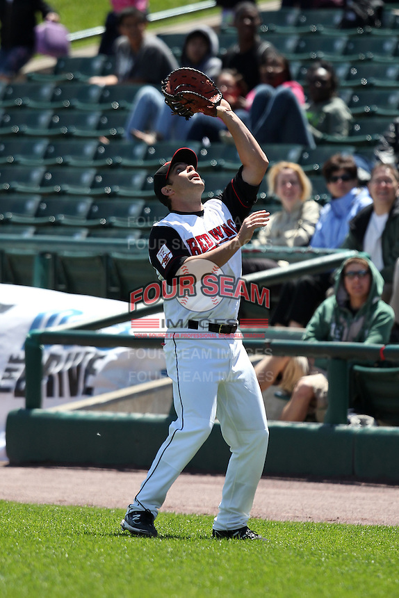 Rochester Red Wings first baseman Jeff Bailey #48 catches a foul ball during a game against the Toledo Mudhens at Frontier Field on June 2, 2011 in Rochester, New York.  Rochester defeated Toledo 8-0.  Photo By Mike Janes/Four Seam Images