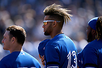 Toronto Blue Jays Lourdes Gurriel Jr. (13) during the national anthem before a Spring Training game against the New York Yankees on February 22, 2020 at the George M. Steinbrenner Field in Tampa, Florida.  (Mike Janes/Four Seam Images)