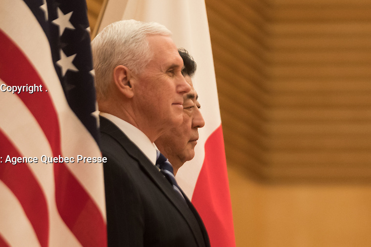 Vice President Mike Pence participates in an official arrival ceremony at the Kantei, Wednesday, February 7, 2018, in Tokyo, Japan. (Official White House Photo by D. Myles Cullen)