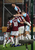 Burnley players celebrate their first goal<br /> <br /> Photographer Andrew Kearns/CameraSport<br /> <br /> The Premier League - Burnley v Liverpool - Wednesday 5th December 2018 - Turf Moor - Burnley<br /> <br /> World Copyright © 2018 CameraSport. All rights reserved. 43 Linden Ave. Countesthorpe. Leicester. England. LE8 5PG - Tel: +44 (0) 116 277 4147 - admin@camerasport.com - www.camerasport.com