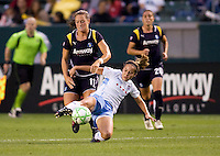 Red Stars Brittany Klein steals the ball from LA Sol's Brittany Bock. The LA Sol and the Red Stars of Chicago played to a 1-1 draw    at Home Depot Center stadium in Carson, California on Wednesday evening June 3, 2009.   .
