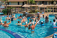 Group of seniors excersising in pool. Maui, Hawaii.