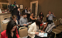 ***NO FEE PIC *** 13/06/2014 Members of the media during the launch of the Civil Society Stakeholder Report tracking Ireland's record under the United Nations International Covenant on Civil and Political Rights at Buswell's hotel, Dublin. Photo: Gareth Chaney Collins