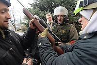 A sniper rifle seen during the violent protest.  Kiev, Ukraine