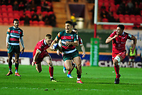 Matt Toomua of Leicester Tigers in action during the Heineken Champions Cup round 5 match between the Scarlets and Leicester Tigers at the Parc Y Scarlets Stadium in Llanelli, Wales, UK. Saturday 12th January 2019