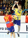 Spain's Joan Canellas (l) and Bosnia Herzegovina's Senjamin Buric during 2018 Men's European Championship Qualification 2 match. November 2,2016. (ALTERPHOTOS/Acero)