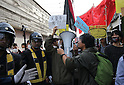 Right wing activisits clash with rally against Japan's Imperial system