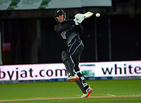 NZ's Finn Allen bats during the second International T20 cricket match between the New Zealand Black Caps and Bangladesh at McLean Park in Napier, New Zealand on Tuesday, 30 March 2021. Photo: Dave Lintott / lintottphoto.co.nz