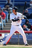 Binghamton Mets outfielder Matt Den Dekker #17 during a game against the Akron Aeros at NYSEG Stadium on April 7, 2012 in Binghamton, New York.  Binghamton defeated Akron 2-1.  (Mike Janes/Four Seam Images)