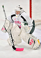 29 January 2012: University of Vermont Catamount goaltender Roxanne Douville, a Sophomore from Beloeil, Quebec, in action against the University of New Hampshire Wildcats at Gutterson Fieldhouse in Burlington, Vermont. Douville, dressed in the teams' Breast Cancer Awareness jersey, made 19 saves for Vermont earning her third win of the season as the Lady Cats edged out the Wildcats 2-1 to split their Hockey East twin-game weekend series. Mandatory Credit: Ed Wolfstein Photo