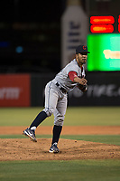 AZL Indians 2 relief pitcher Francisco Lopez (43) follows through on his delivery during an Arizona League game against the AZL Angels at Tempe Diablo Stadium on June 30, 2018 in Tempe, Arizona. The AZL Indians 2 defeated the AZL Angels by a score of 13-8. (Zachary Lucy/Four Seam Images)