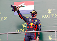 30th August 2020, Spa Francorhamps, Belgium, F1 Grand Prix of Belgium , Race Day;  33 Max Verstappen NLD, Aston Martin Red Bull Racing celebrates 3rd place on podium