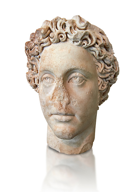 Roman Portrait bust of Roman Emperor Commodus, circa 180 AD excavated from the ancient market, Rome. Roman Emperor from 180 to 192 AD. Commodus also ruled as co-emperor with his father Marcus Aurelius from 177 until his father's death in 180 AD.. The National Roman Museum, Rome, Italy