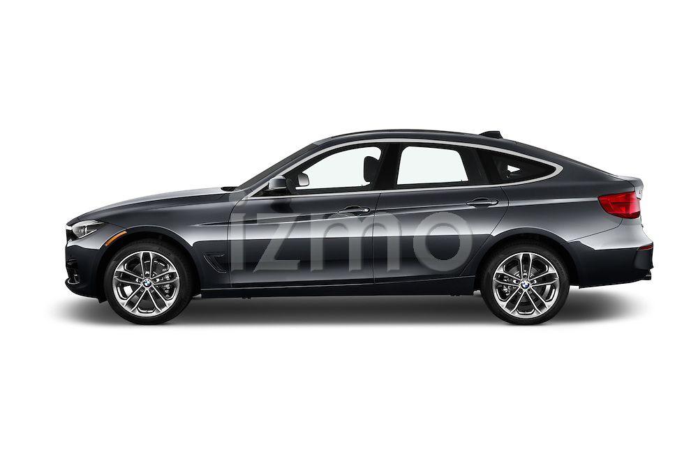 Car Driver side profile view of a 2018 BMW 3-Series 330i-Gran-Turismo 5 Door Hatchback Side View