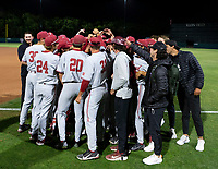 STANFORD, CA - JUNE 7: Team meeting after a game between UC Irvine and Stanford Baseball at Sunken Diamond on June 7, 2021 in Stanford, California.
